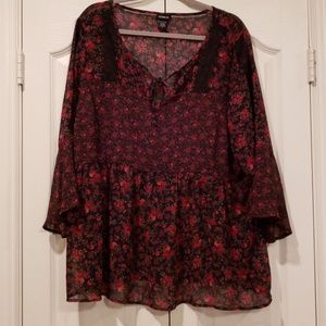 Torrid sheer red rose blouse with lace trim